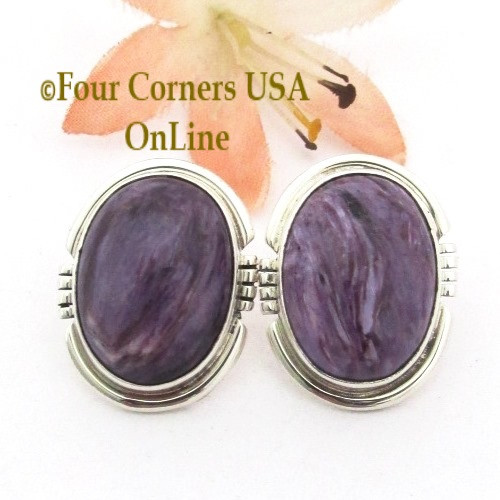 On Sale Now Charoite Sterling Silver Post Earrings by Native American Artisan Arkge Nelson  Four Corners USA OnLine Navajo Silver Jewelry NAER-13074