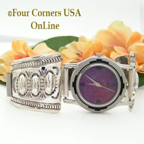 Men's Stamped Sterling Silver Watch Shown with Mohave Purple Turquoise Face On Sale Now at Four Corners USA OnLine Native American Navajo Jewelry Harry Spencer NAW-093406