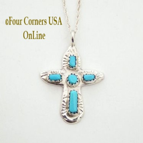 Turquoise Sterling Cross on 16 Inch Chain Zuni Artisan Cecilia Iule Four Corners USA OnLine Native American Jewelry No 2 NACR-091372