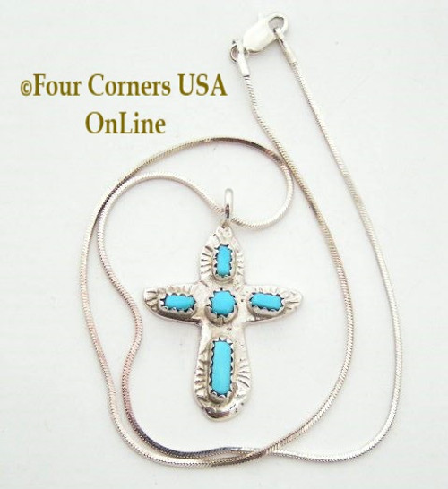 Turquoise Sterling Cross on 14 Inch Chain Zuni Artisan Cecilia Iule On Sale Now Four Corners USA OnLine Native American Jewelry No 3 NACR-091373