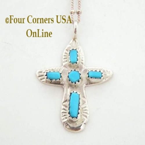 Turquoise Sterling Cross on 18 Inch Chain Zuni Artisan Cecilia Iule On Sale Now Four Corners USA OnLine Native American Jewelry No 4 NACR-091378