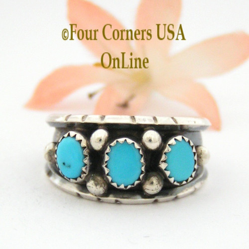 Size 11 3/4 Sleeping Beauty Turquoise Sterling Ring Native American Navajo Jewelry by Jerry Cowboy NAR-13084 Four Corners USA OnLine