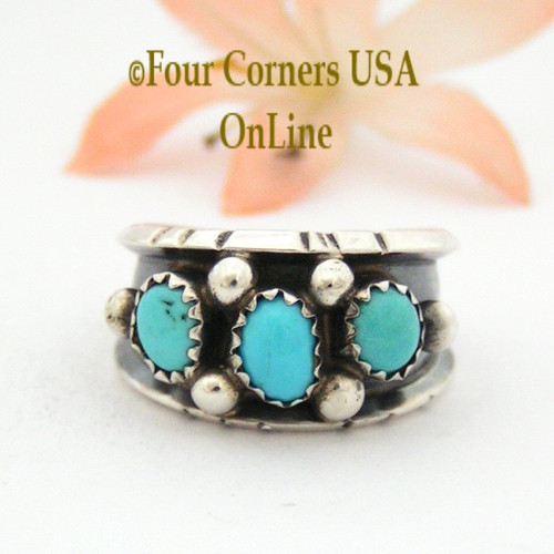 Size 8 Sleeping Beauty Turquoise Sterling Ring Native American Navajo Jewelry by Jerry Cowboy NAR-13089 Four Corners USA OnLine