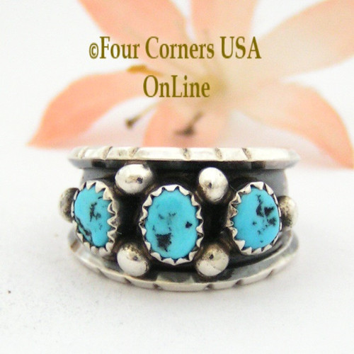 Size 8 Sleeping Beauty Turquoise Sterling Ring by Jerry Cowboy Native American Navajo Artisan NAR-13090 Four Corners USA OnLine