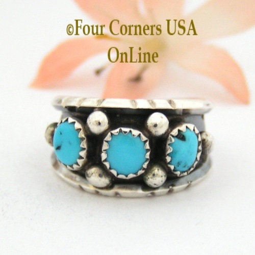 Size 8 Sleeping Beauty Turquoise Sterling Ring Native American Navajo Jewelry by Jerry Cowboy NAR-13088 Four Corners USA OnLine
