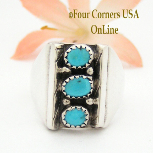 Size 11 1/4 Sleeping Beauty Turquoise Sterling Ring Native American Indian Navajo Handcrafted NAR-13095 Four Corners USA OnLine