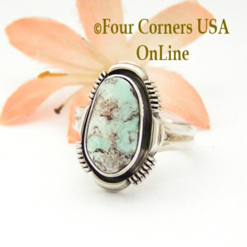 Size 7 3/4 Dry Creek Turquoise Sterling Ring Navajo Artisan Larry Yazzie Four Corners USA OnLine Native American Jewelry