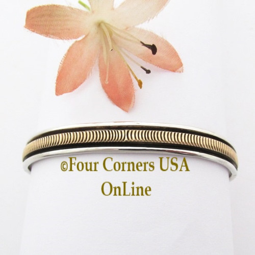 14K Gold and Sterling Cuff Bracelet Navajo Bruce Morgan NAC-09473 Four Corners USA OnLine Native American Silver Jewelry