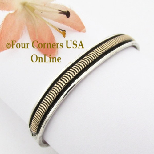 14K Gold and Sterling Silver Cuff Bracelet Navajo Bruce Morgan NAC-09472 Four Corners USA OnLine Native American Jewelry
