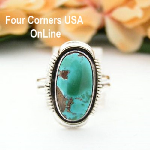 Size 7 3/4 Dry Creek Turquoise Sterling Ring Artisan Larry Yazzie Four Corners USA OnLine Native American Navajo Jewelry NAR-13136