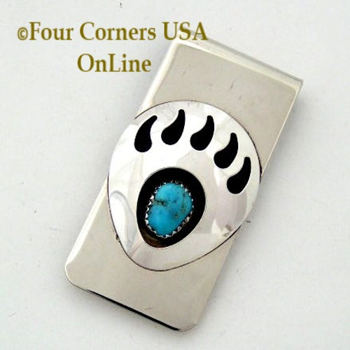 Good Omen Bear Paw Sterling Silver Turquoise Money Clip Native American Indian Virginia Long NAM-09114b Four Corners USA OnLine