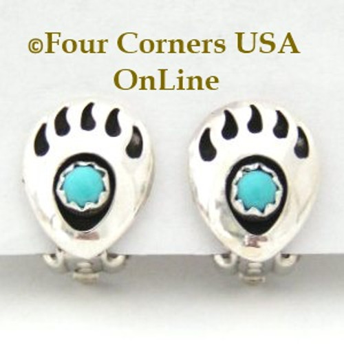 Bear Paw Clip On Earrings Native American Indian Silver Jewelry by Navajo Artisan Gaynelle Parker Four Corners USA OnLine Native American Jewelry NAER-13077