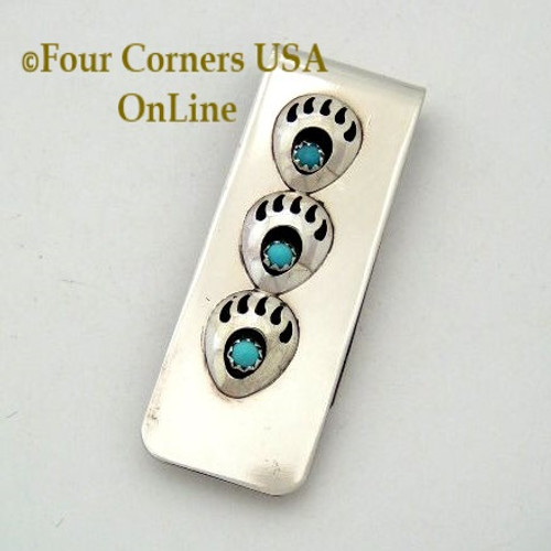 Triple Mini Bear Paw Sterling Money Clip Native American Navajo Silversmith Virginia Long NAM-09120C Four Corners USA OnLine