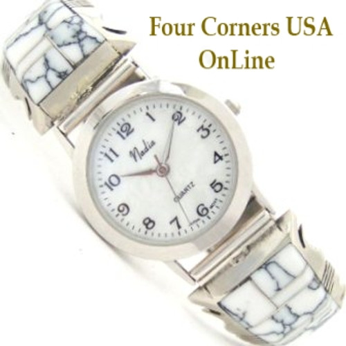 Men's White Buffalo Turquoise Sterling Watch Mother of Pearl Face Steve Francisco Four Corners USA OnLine Native American Indian Jewelry NAW-1302