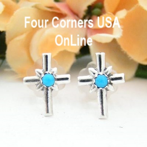Turquoise Sterling Cross Center Post Earrings Four Corners USA OnLine Native American Silver Jewelry by Lorraine Chee NAER-13078