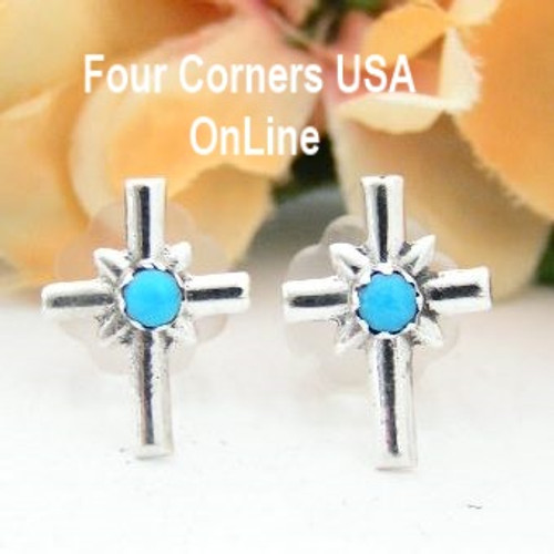 Turquoise Sterling Cross Center Post Earrings On Sale Now Four Corners USA OnLine Native American Silver Jewelry by Lorraine Chee NAER-13078