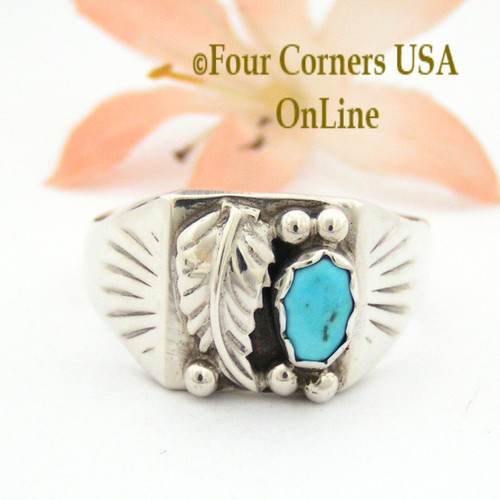 Size 13 Turquoise Silver Leaf Men's Ring Native American Navajo Silver Jewelry NAR-09005B Four Corners USA OnLine