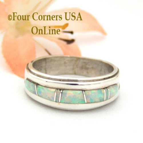 Size 7 1/2 White Fire Opal Inlay Band Ring Navajo Wilbert Muskett Jr Four Corners USA OnLine Native American Jewelry WB-1418