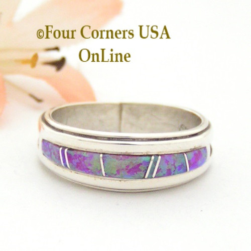 Size 8 1/2 Pink Fire Opal Inlay Band Ring Navajo Wilbert Muskett Jr WB-1419 Four Corners USA OnLine Native American Silver Jewelry