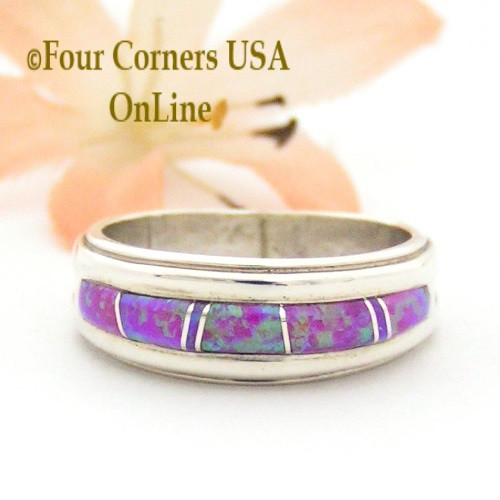 Size 7 1/2 Pink Fire Opal Inlay Ring Native American Wilbert Muskett Jr WB-1421 Four Corners USA OnLine Native American Silver Jewelry