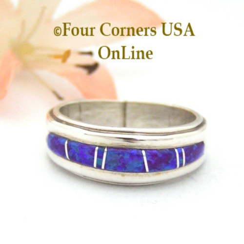 Size 7 Purple Fire Opal Inlay Band Ring Navajo Wilbert Muskett Jr Native American Silver Jewelry Four Corners USA OnLine WB-1424