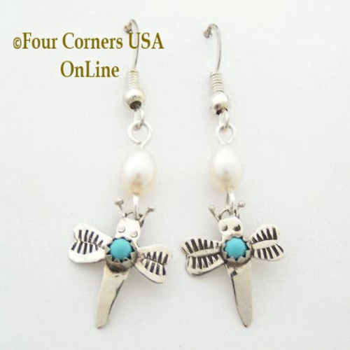 Dragonfly Earrings Turquoise Pearls Four Corners USA OnLine Native American Ed Abeita Closeout Final Sale NAER-13001DFP