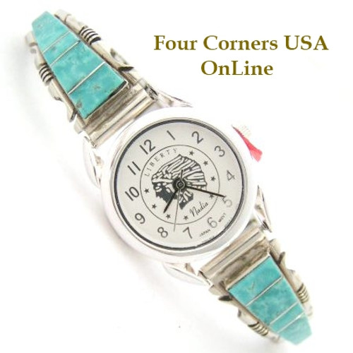 On Sale Women's Turquoise Inlay Sterling Watch Chief Headdress Navajo Steve Francisco Four Corners USA OnLine Native American Jewelry NAW-1404