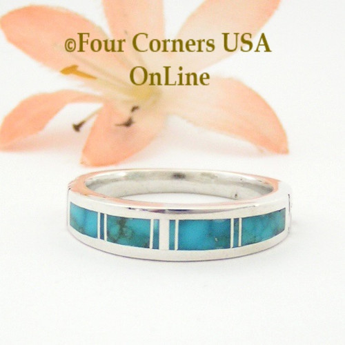 Contemporary Size 9 3/4 Turquoise Inlay Ring Navajo Artisan Aaron Toadlena Four Corners USA OnLine Native American Silver Jewelry