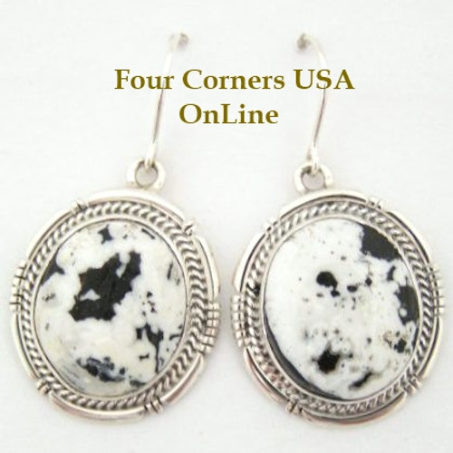 White Buffalo Turquoise Stone Sterling Earrings by Sampson Jake Four Corners USA Native American Silver Jewelry (NAER-1407)