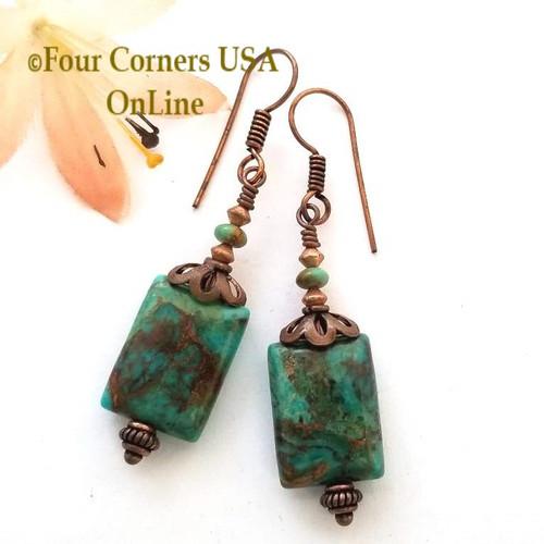 Kingman Boulder Turquoise Copper Artisan Dangle Earrings (FCE-12078) Four Corners USA OnLine Artisan Jewelry