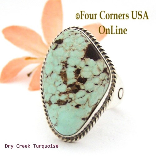 On Sale Now Size 13 Men's Dry Creek Turquoise Ring Navajo Tony Garcia NAR-1405 Four Corners USA OnLine Native American Jewelry