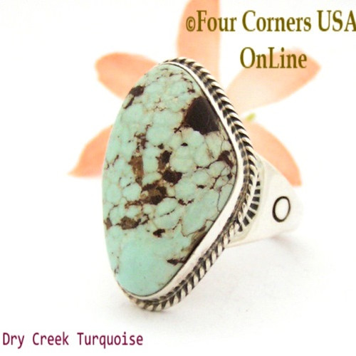 Size 13 Men's Dry Creek Turquoise Ring Navajo Tony Garcia NAR-1405 Four Corners USA OnLine Native American Jewelry