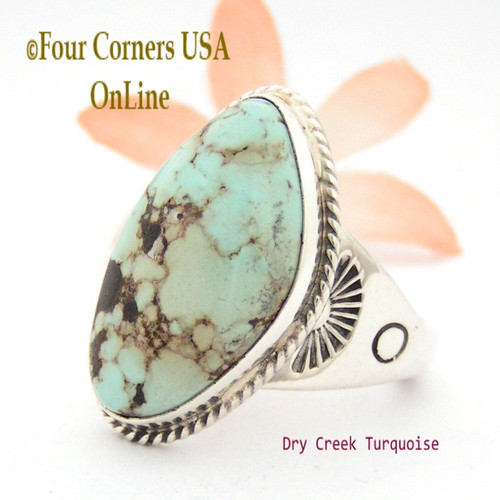 Men's Dry Creek Turquoise Ring Size 12 3/4 Navajo Tony Garcia Four Corners USA OnLine Native American Indian Silver Jewelry NAR-1407