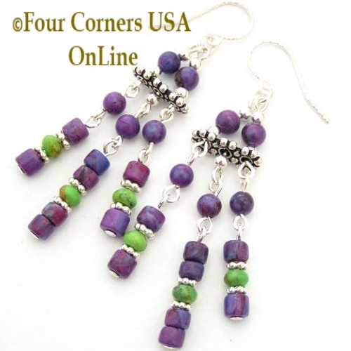 Mohave Purple and Green Turquoise Chandelier Sterling Silver Bead Earrings On Sale Now Four Corners USA OnLine Jewelry Designs FCE-12081