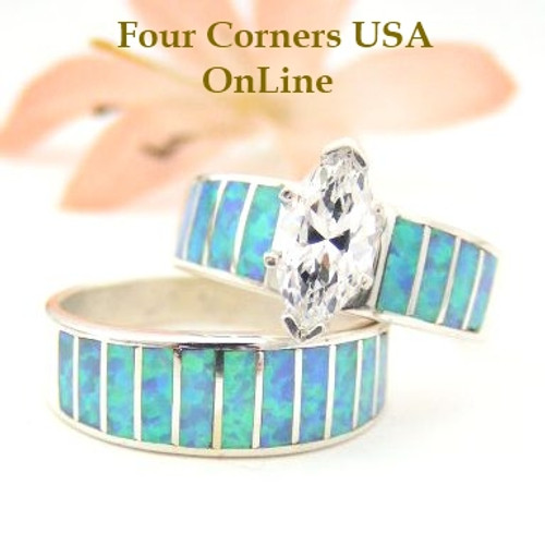 Light Blue Fire Opal Bridal Wedding Engagement Ring Set Size 8 Four Corners USA OnLine Native American Indian Jewelry WS-1434