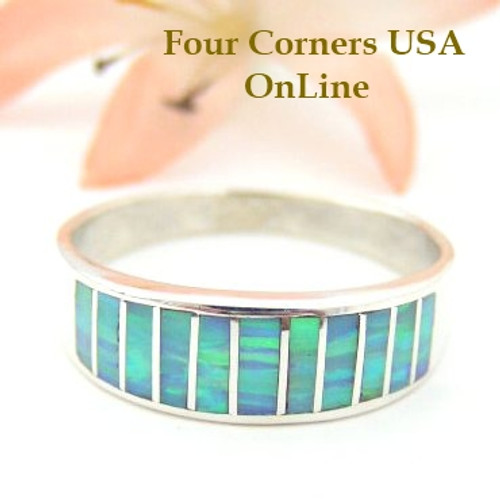 Light Blue Fire Opal Inlay Band Ring Size 11 Native American Navajo Ella Cowboy Four Corners USA OnLine Silver Jewelry WB-1455