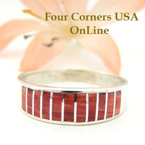 Spiny Oyster Inlay Band Ring Size 11 Native American Navajo Ella Cowboy Four Corners USA OnLine Silver Jewelry WB-1454 Four Corners USA OnLine Native American Silver Jewelry