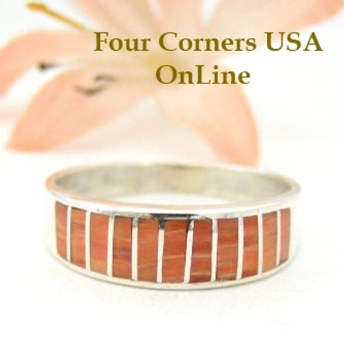 Spiny Oyster Shell Inlay Band Ring Size 10 1/4 Native American Navajo Ella Cowboy Four Corners USA OnLine Silver Jewelry WB-1453