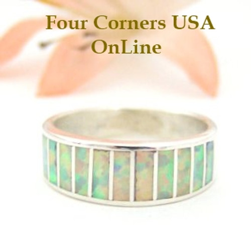 White Fire Opal Inlay Band Ring Size 6 1/4 Native American Navajo Ella Cowboy Four Corners USA OnLine Silver Jewelry WB-1427
