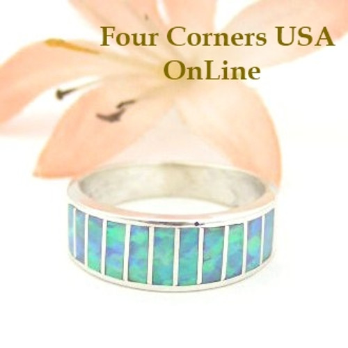 Light Blue Fire Opal Inlay Band Ring Size 6 1/4 Native American Ella Cowboy Silver Jewelry WB-1443
