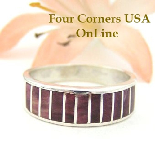Purple Spiny Oyster Inlay Band Ring Size 7 Native American Ella Cowboy Four Corners USA Silver Jewelry WB-1448