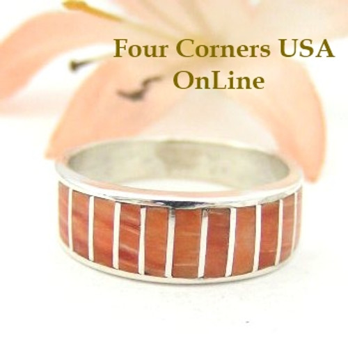 Spiny Oyster Inlay Band Ring Size 6 Native American Ella Cowboy Four Corners USA OnLine Silver Jewelry WB-1449