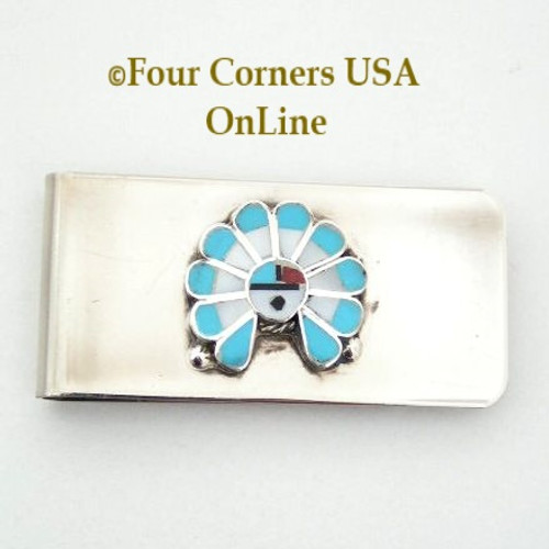 Inlay Zia SunFace Money Clip Native American Zuni Silversmith Pino Yurie NAM-1403A Four Corners USA OnLine