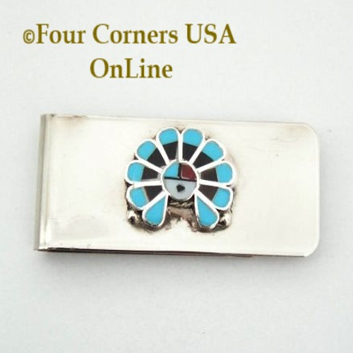 Inlay SunFace Money Clip Native American Zuni Silversmith Pino Yurie NAM-1402A Four Corners USA OnLine