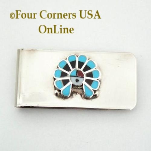 Inlay SunFace Money Clip Native American Zuni Silversmith Pino Yurie NAM-1402A Four Corners USA OnLine
