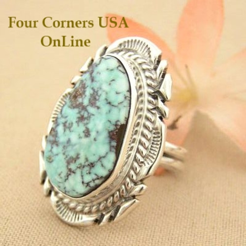 On Sale Now Elongated Dry Creek Turquoise Stone Ring Size 7 1/4 Thomas Francisco Four Corners USA OnLine Native American Silver Jewelry NAR-1431