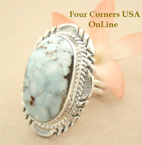 Elongated Dry Creek Turquoise Stone Ring Size 8 1/4 Thomas Francisco Four Corners USA Native American Indian Silver Jewelry NAR-1432
