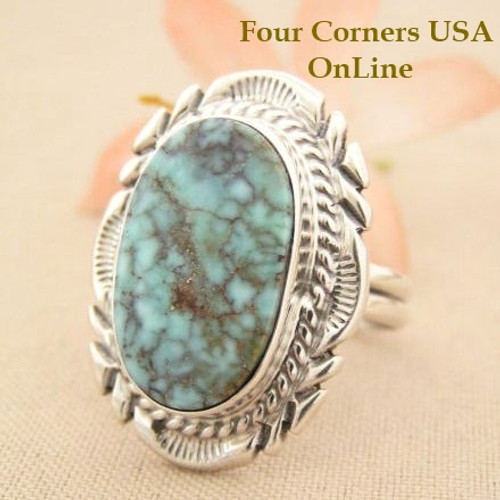 Dry Creek Turquoise Ring Size 9 Thomas Francisco Four Corners USA OnLine American Indian Silver Jewelry NAR-1437