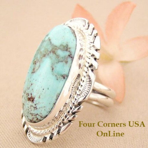 On Sale Now Large Elongated Dry Creek Turquoise Stone Ring Size 8 3/4 Thomas Francisco Four Corners USA OnLine Navajo Silver Jewelry NAR-1439