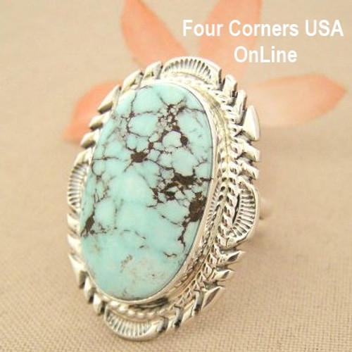 Dry Creek Turquoise Large Stone Ring Size 8 Thomas Francisco Native American Navajo Silver Jewelry NAR-1440